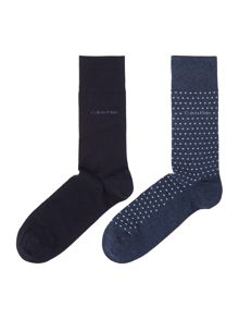 Calvin Klein 2 pack spot and plain flat knit socks