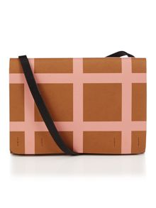 Printed check multi cross body bag