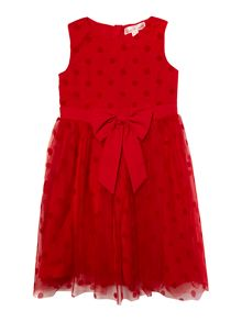Girls sleeveless polka dot dress with bow