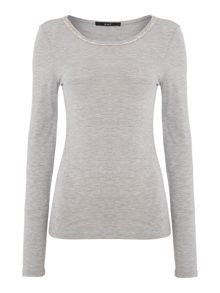 Oui Jewelled neck long sleeve jersey top