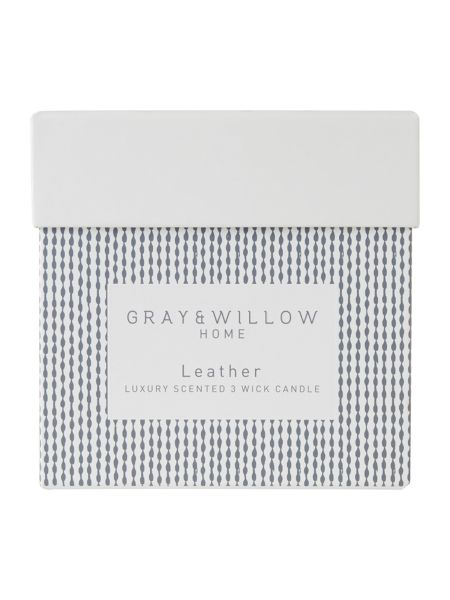 Gray & Willow Leather luxury 3 wick scented candle