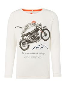 name it Boys Cheetah on a bike graphic long sleeved tee