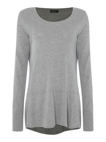 Drop hem long sleeve top