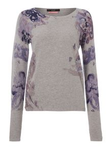 Oui Rose print sweat