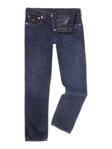 True Religion Geno slim fit contast stitch dark wash jean
