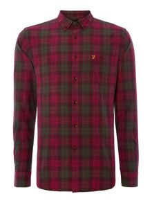 Farah Milsom regular fit space dye check shirt