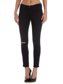 711 midwaist skinny jean in black tide destructed