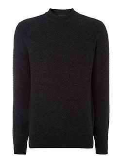Crew Neck Chunky Twill Knitted Jumper