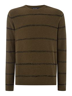 Crew Neck Striped Knitted Jumper