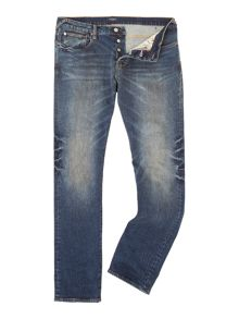 Tapered Fit Mid Wash Jeans