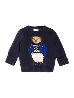 Boys crew neck jumper with teddy bear feature