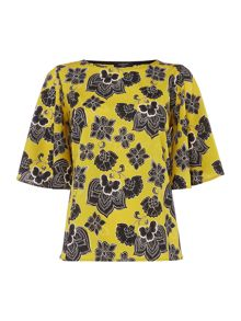 Therapy Paisley Split Back Blouse