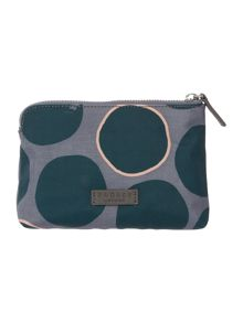 Spot on small green zip pouch