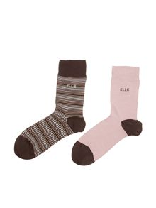 Elle 2PP Stripe Ankle Socks