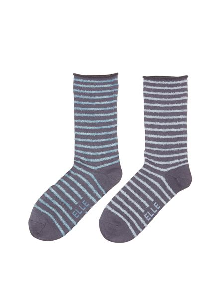 Elle Bamboo 2 pair pack ankle socks with feather stipe