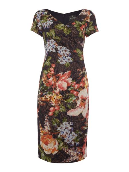 Adrianna Papell Cap sleeve dress with side gather