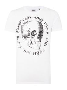 T-Isem Regular Fit Skull Graphic T Shirt