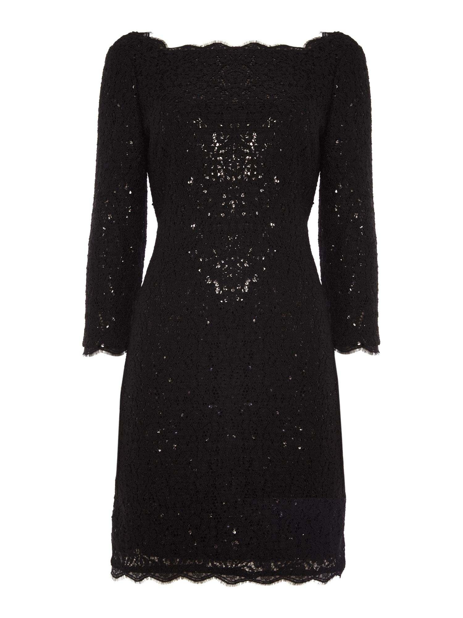 Adrianna Papell Long sleeve lace sequin shift dress Black
