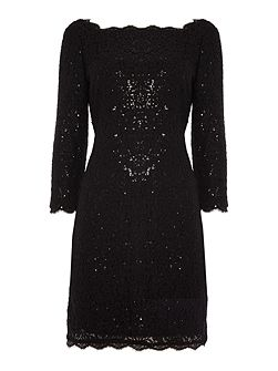 Adrianna Papell Long sleeve lace sequin shift dress