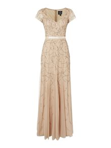 Adrianna Papell V neck cap sleeve gown with embellishment