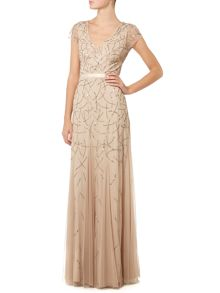 V neck cap sleeve gown with embellishment