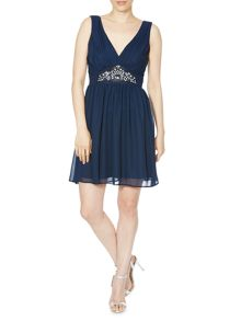Elise Ryan Sleeveless VNeck Chiffon Skater Embellished Dress