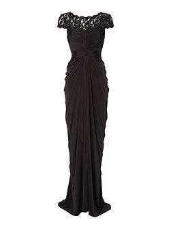 Venechia jersey gown with lace sleeves