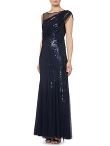 Drapped sleeveless one shoulder illusion gown