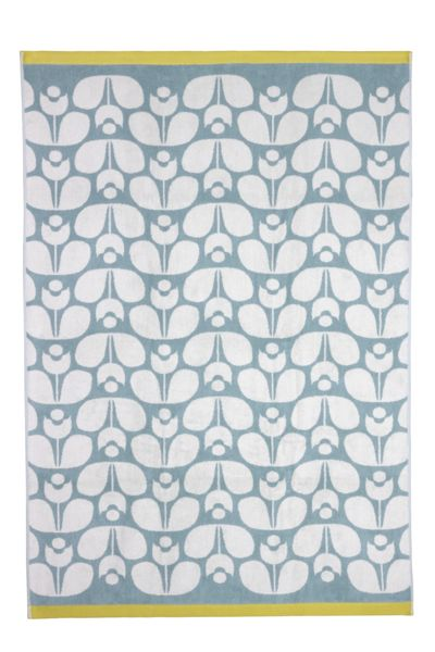 Orla Kiely Wallflower Jacquard Bath Sheet in Duck Egg