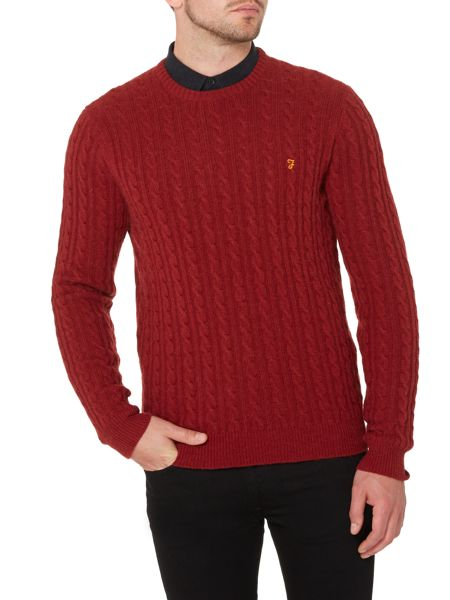 Farah Kirtley crew neck cable knit jumper