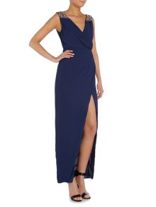 tfnc Sleeveless V Neck Embellished Shoulder Dress