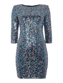Sequin Bodycon 3/4 sleeve dress