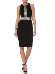 Sleeveless Embellished Front Cross Over Dress