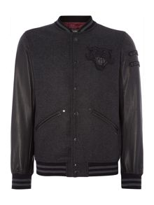 L-Danny Zip Up Leather Baseball Jacket