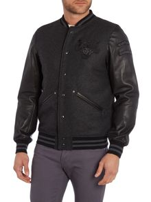 Diesel L-Danny Zip Up Leather Baseball Jacket