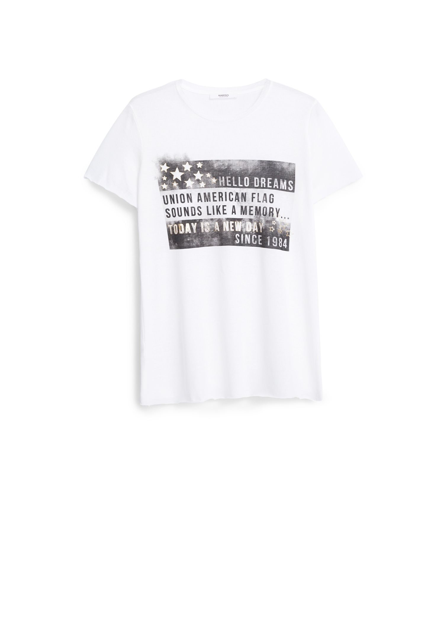 Mango Printed cotton t-shirt, White