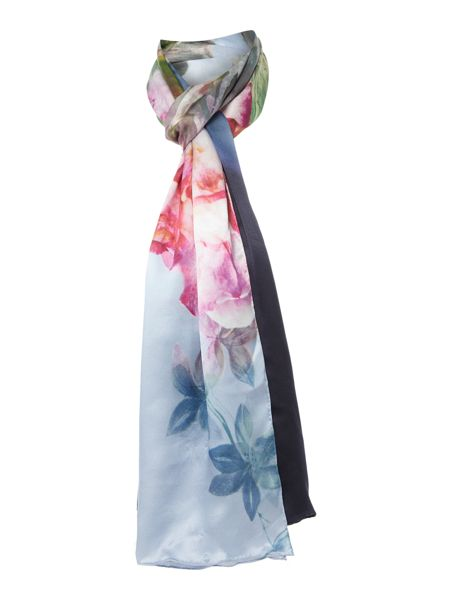 ted baker peony silk scarf navy house of fraser