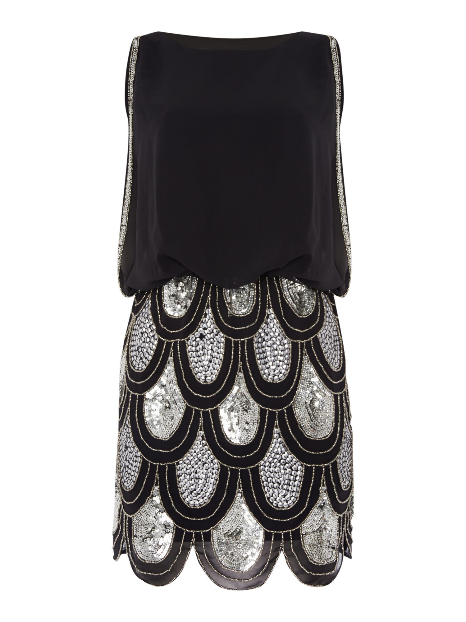Lace and Beads Sleeveless Blouson Top Sequin Detail Dress, Black