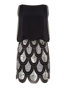 Lace and Beads Sleeveless Blouson Top Sequin Detail Dress