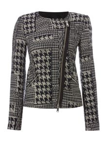Oui Dogtooth biker jacket