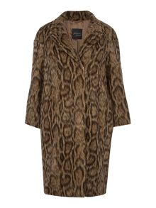 Persona Tastiera leopard print coat with contrast lining