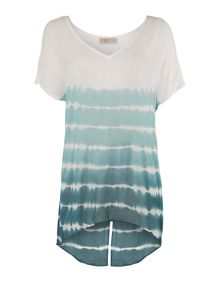 Stripe tie dye split back blouse
