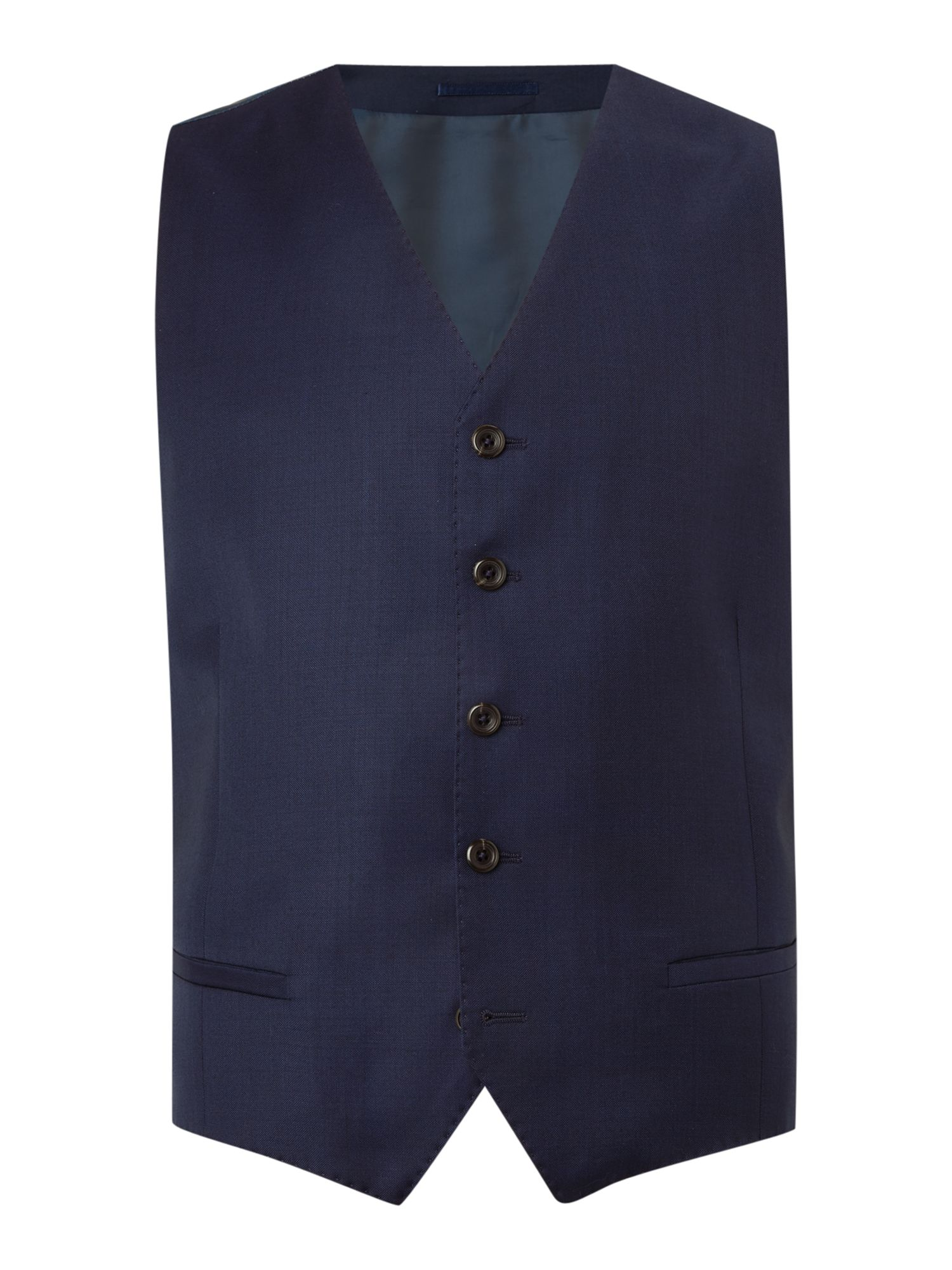 Men's Simon Carter Regular Sharkskin Waistcoat, Bright Blue