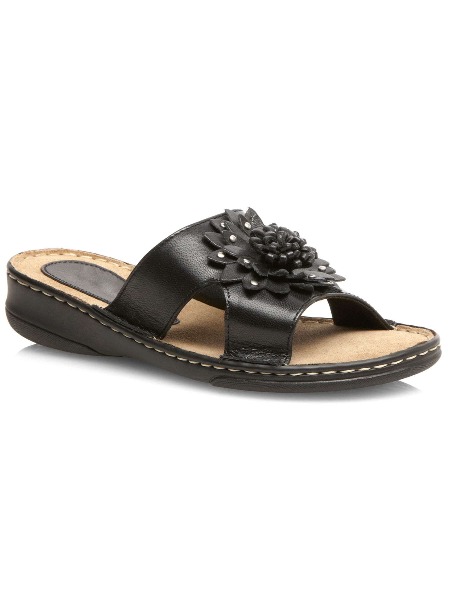 Black flower leather sandal