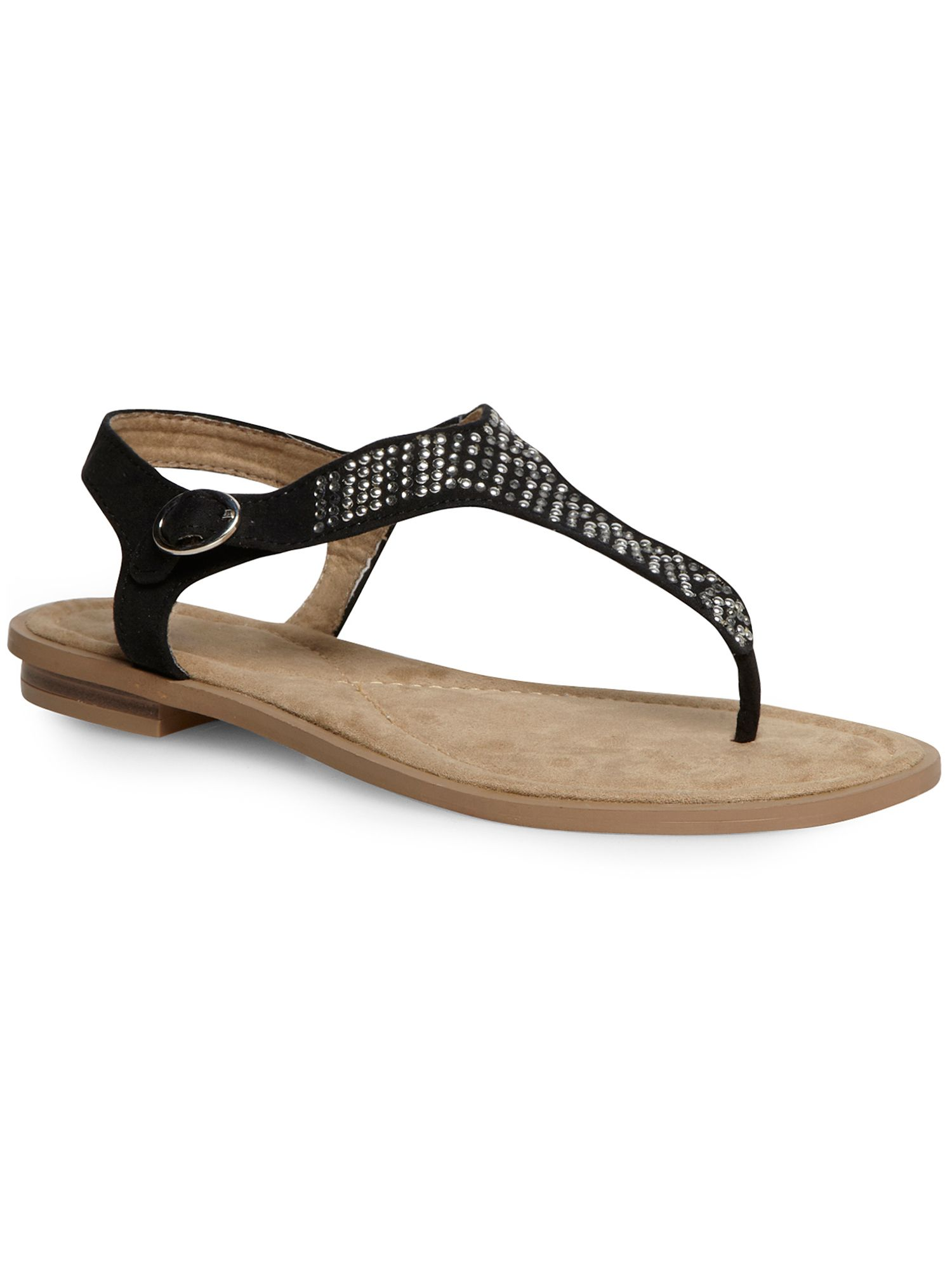 Black embellished toe-post sandal