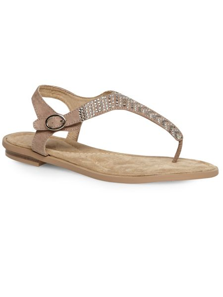 Evans Mink embellished toe post sandal