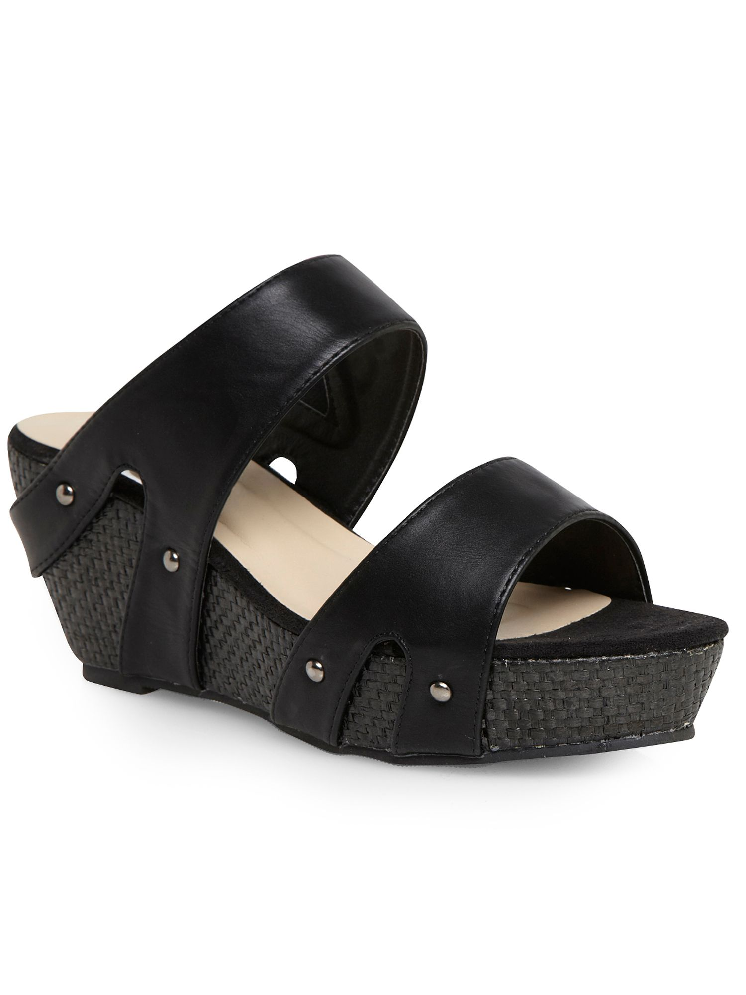 Black strappy mule wedge sandals