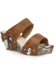 Tan strappy mule wedge sandals