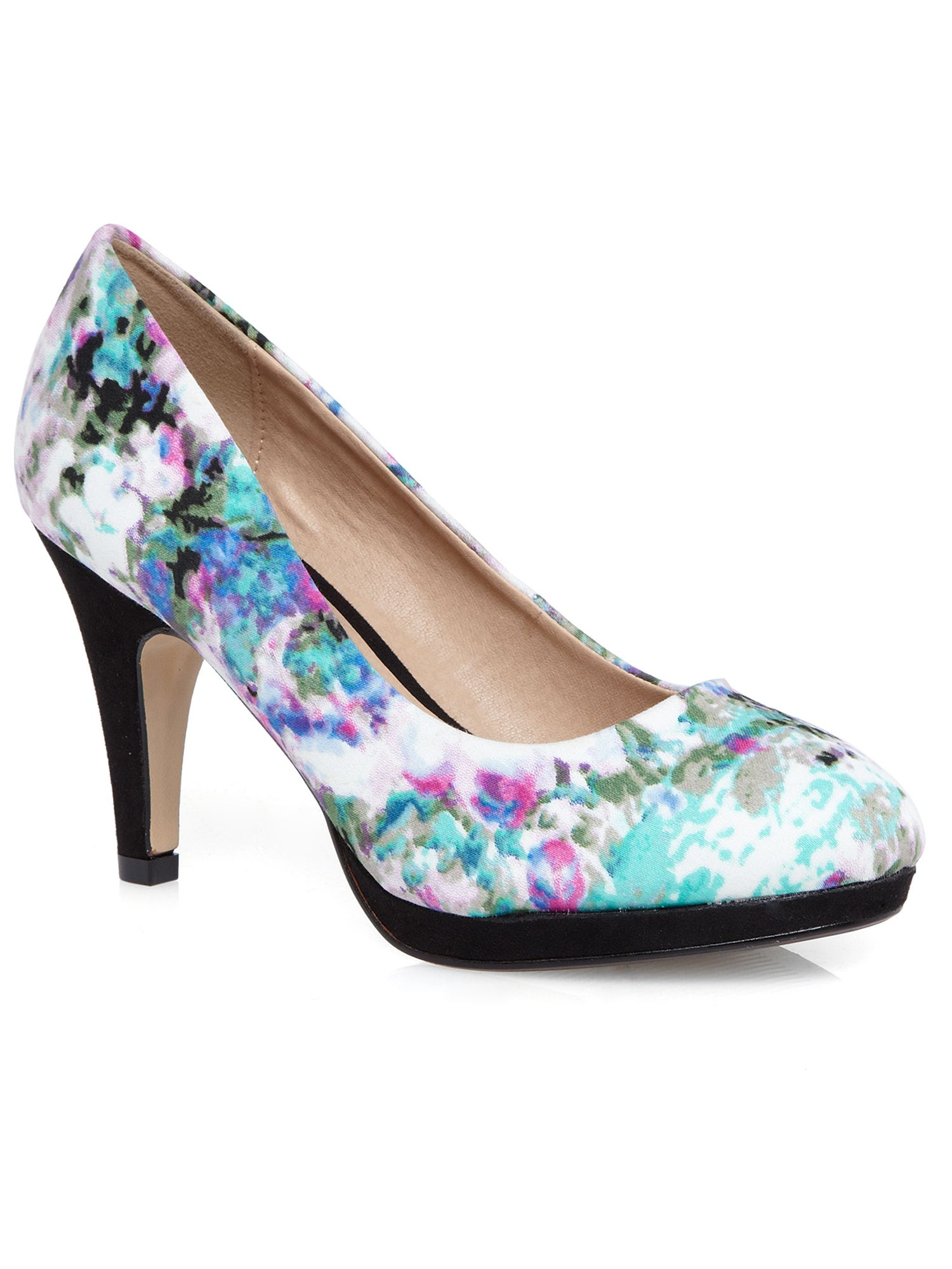 Multicoloured floral platform court shoe