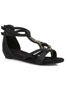 Black jewelled wedge sandal
